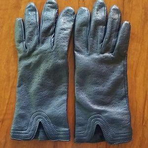 Navy Blue Genuine Leather Gloves